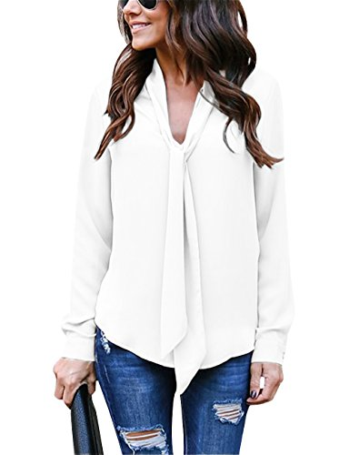 Yidarton Women's Cuffed Long Sleeve Casual V Neck Chiffon Blouses Tops with Tie(Cream White,M)