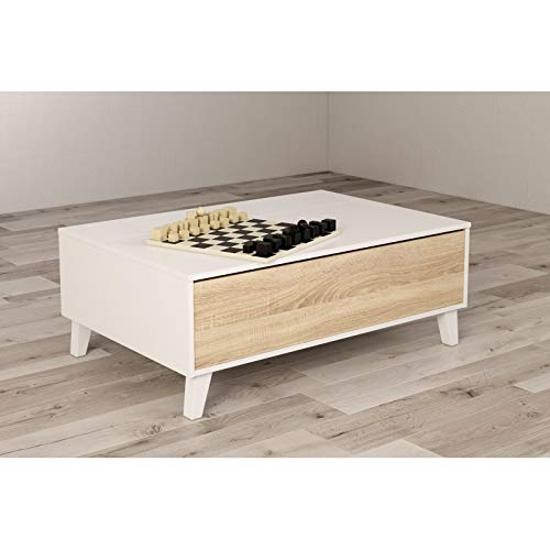 KITKAY Mesa de Centro elevable 100x68 Blanco Brillo/Roble Natural