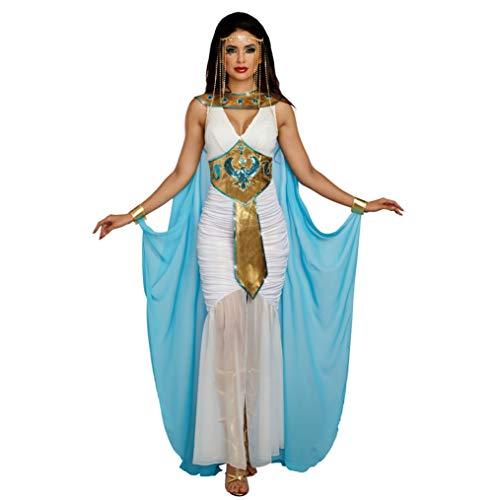 Dreamgirl Ägypterin Kostüm Damen Kleid weiß-blau Karneval Fasching Antike Ägypten Cleopatra (XL)