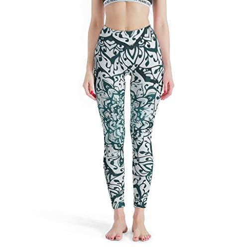 XHJQ88 -Europese Vrouwen Zachte enkel Broek, Stretchable Broek Mint Romantische Mandalas Ontwerp Capri Workout Panty Capri Leggings voor Vrouwen