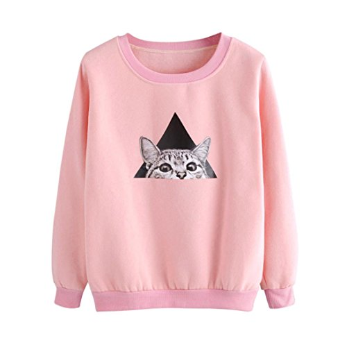 TWIFER Damen Cat Langarm Hoodie Sweatshirt Kapuzenpullover Tops Bluse (2XL, Rosa)