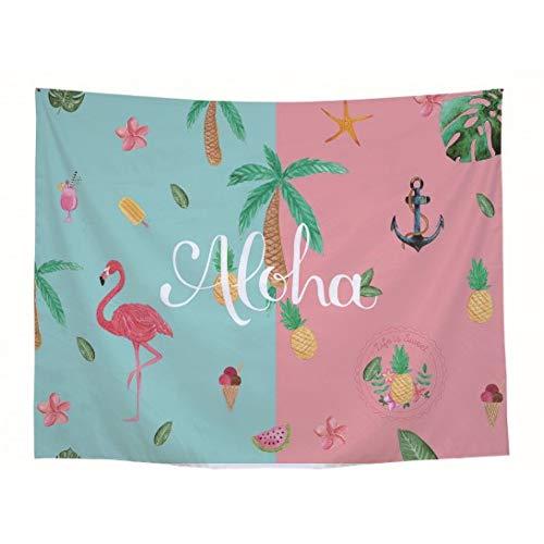 ZSYNB Flamingo Flamingo Zittende Makro Tropische bladeren Exotische grafische Retro grafische wandbehang voor bed No frame 150 X 130cm