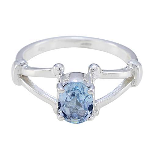 joyas plata gemme buone forma ovale con una pietra sfaccettata anello topazio blu - anello topazio blu argento 925 - dicembre nascita sagittario astrologia anello pietre preziose