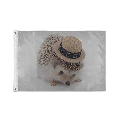 Le drapeau imprime un petit hérisson avec un chapeau blanc Drapeaux drôles pour adultes 24 x 36 pouces / 36 x 60 pouces Polyester durable imprimé avec deux œillets métalliques pour extérieur / intéri
