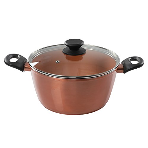 Gibson Home Eco-Friendly Hummington with Induction Base Forged Aluminum Non-Stick Ceramic Cookware with Soft Touch Bakelite Handle, 4.5 Quart, Metallic Copper