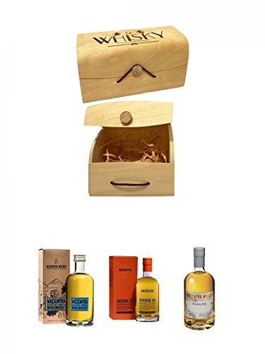 1a Whisky Holzbox mit Flexdeckel groß + Mackmyra Bruks Svensk Single Malt 0,05 Liter Miniatur + Mackmyra Svenks Ek Single Malt 0,05 Liter Miniatur + Mackmyra Svens Rök Single Malt 0,05 Liter Miniatur