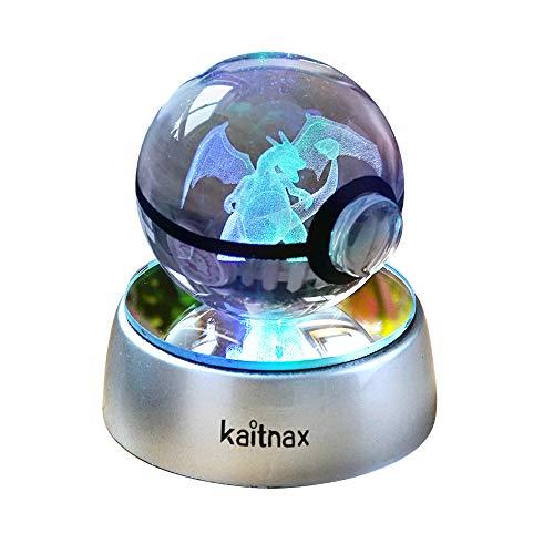 Lámpara de bola de cristal 3D grabada con láser en la bola con base de cambio de color LED (multicolor-char1)