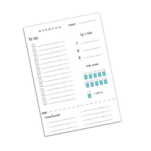 Nastami To-Do Listen Block mit Erinnerungshelfer für Einkauf & trinken, 50 Blatt DIN A5 als Erinnerung, Planer oder Notiz für Büro, Haushalt & Familie