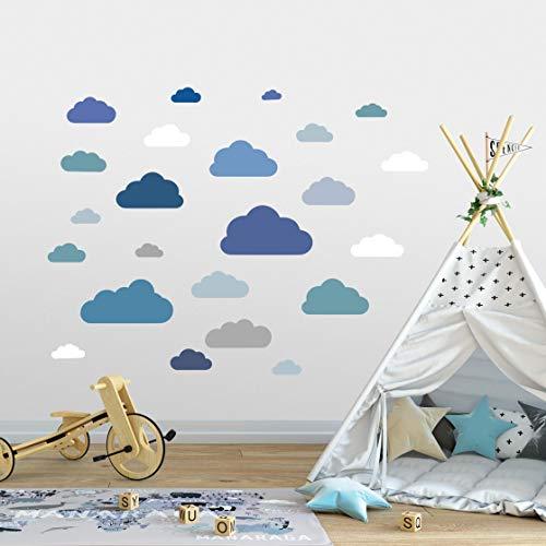 20 Teile Wolken Wandtattoo Kinderzimmer Set - Rauhfaser Wandsticker, Pastell Farben, Baby Tapete Sticker zum Kleben, Wandaufkleber Sleepy Eye Wanddeko - Wandfolie, Kleinkinder, Jungen, Mädchen (Blau)