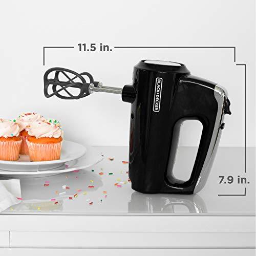 BLACK+DECKER Helix Hand Mixer, Premium Performance 5 Speed Hand Mixer, Includes 5 Attachments and Case, Black, MX600BC