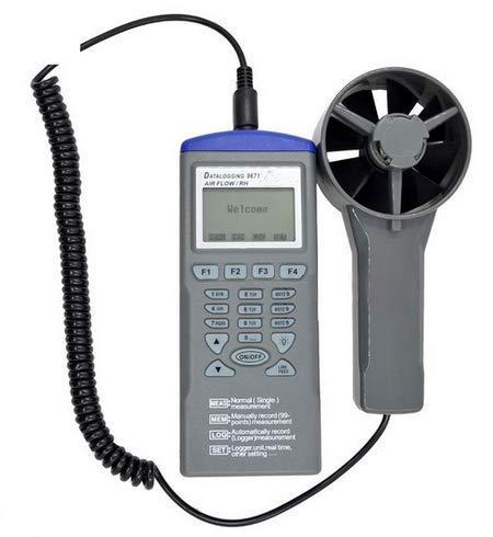 KAIBINY Anemómetro Digital Velocidad del Aire/Volumen/Humedad/Temperatura de grabación AZ9671