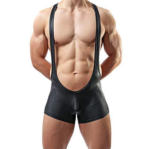 J.W. Herren Gymnastikanzug Latex Leder Kunstleder Sexy Wrestling Singlet Body SchwarzJumpsuit Gr. S-XL (L)