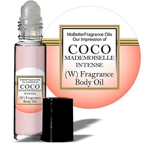 MoBetter Fragrance Oils' Our Impression of C o c o Mademoiselle Intense for Women Body Oil Fragrance 1/3 oz roll on Glass Bottle
