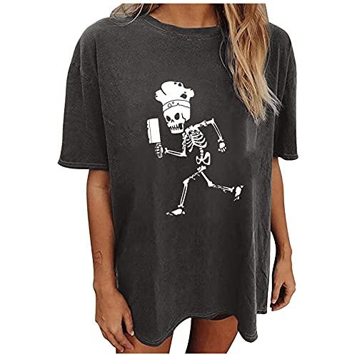 Colonia Halloween Mujer Túnica Superior Suelta de Las Camisas de la impresión del Esqueleto de la Manga Corta Ocasional de Las Mujeres de Halloween (Gray, L)