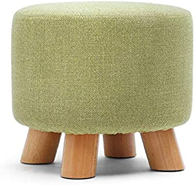Awesome Warehouse Pouffe Ottoman Foot Rest Stool,Small Shoe Bench with Feet Protection | Round - 4 Wooden Legs - Green
