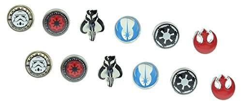 Paquete de 6 pares de pendientes con logotipos de Star Wars
