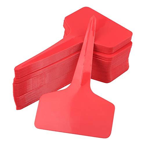 KINGLAKE 100 Stück Kunststoff-Pflanzenmarker, rote Gartenetiketten für Gemüse, Kräuter, 6 x 10 cm (rot)