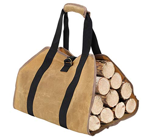 TQVAI Waxed Canvas Firewood Log Carrier with Handles Premium Fireplace Wood Bag Camping Indoor Firewood Logs Tote Holder Fireplace Accessories