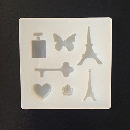 september-europe joyas Beading Casting Mold, DIY hecho a mano molde de silicona, transparente molde para resina, cristal, cuadrado, diseño de mariposas, de botes de Perfume, amor corazón regalo