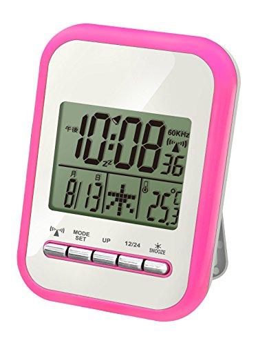 誠時(セイジ) カラフルバックライト 10種類ナチュラルサウンドアラーム 電波時計 温度計機能付 Annecy アヌシー ピンク RW-019PI