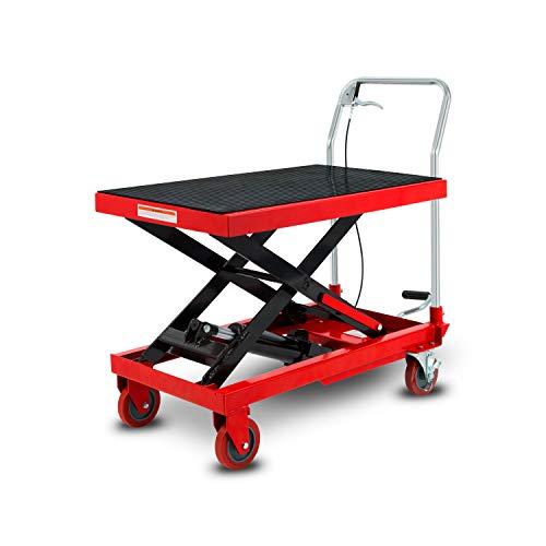 EBERTH Scherenhubwagen Traglast 500 kg (hydraulischer Hubtischwagen, Plattform 820 x 520 mm, Hubbereich 295-780 mm, Geräuscharme Räder mit Feststellbremse, fahrbarer Hubtisch)