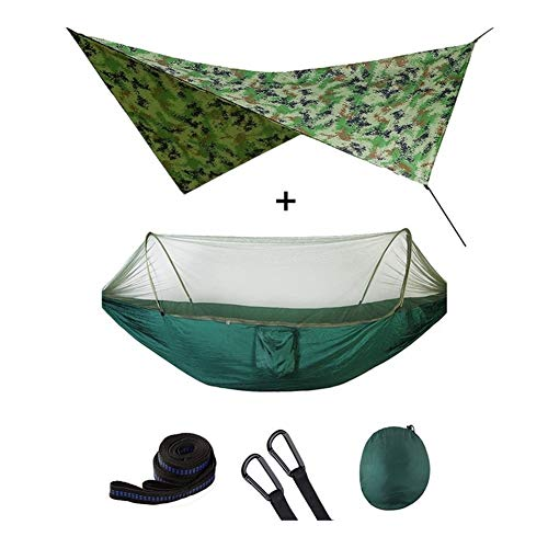 Henanyimeixiang Hammock Outdoor Automatic Quick Open Mosquito Net Hammock Tent With Waterproof Canopy Awning Set Hammock Portable Pop-Up Double (Color : Dark green camouflag)