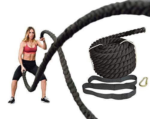 """5 Star TD Battle Rope, 1.5"""" Diameter Poly Dacron 30 FT Length Exercise Equipment Home Gym & Outdoor Strength Training Cardio Workout Fitness, Battle Rope Anchor and Durable Protective Sleeve Black/Red"""