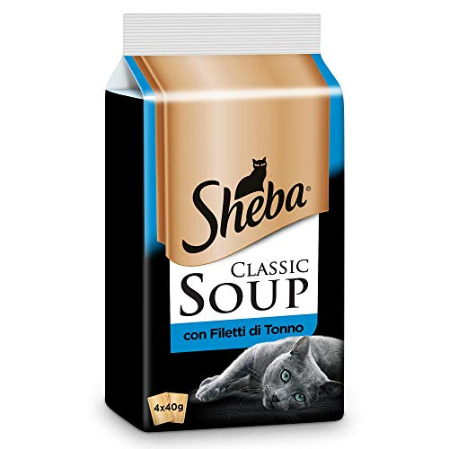 Sheba Classic Soup, Cibo per Gatto con Filetti di Tonno 4 x 40 g - 12 Confezioni (48 Bustine in Totale)