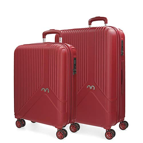 Movom Trendy Juego de maletas Rojo 55/66 cms Rígida ABS Cierre TSA 110L 4 ruedas dobles Equipaje de Mano