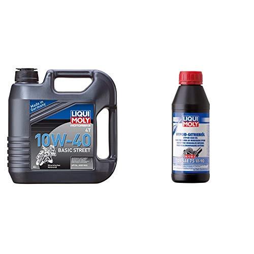 LIQUI MOLY 3046 Motoröl 4T Basic Street 10W-40, 4 L & 1406 Hypoid-Getriebeöl TDL SAE 75 W-90 500 ml