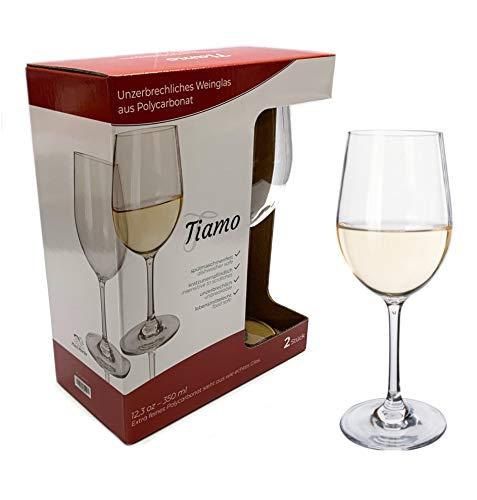 Moritz Tiamo Camping Gläser Polycarbonat 2 Stück bruchfest Weißwein Gläser Set Kratzfest Weingläser 350 ml Weißweingläser