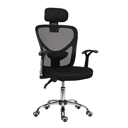 Ergonomic Office Chair with Arms,High Back Reclining Ergonomic Desk Chair with Adjustable Headrest Computer Chair with Back Support Executive Swivel Home Work Chair, (Black)