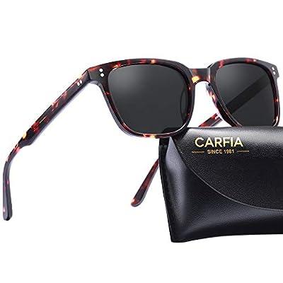 Carfia Chic Retro Polarized Womens Sunglasses UV400 Protection Hand-Polished Acetate Frame CA5354C