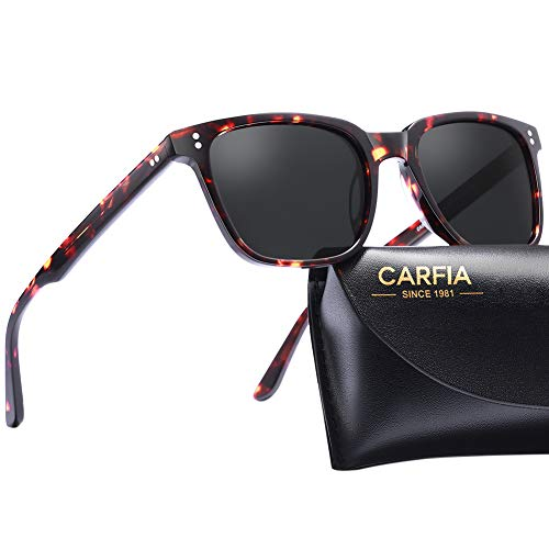 Carfia Chic Retro Polarized Womens Sunglasses UV400 Protection Hand-Polished Acetate Frame