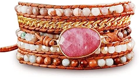Mahogany Stone Hand Limited time cheap sale Award Woven Multilayer S Creative Bracelet Leather
