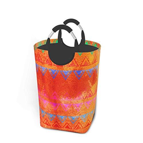 Banderines abstractos con pintura de acuarela en rosa fuerte, naranja, menta y azul Cesto de lavandería plegable portátil, soporte organizador de cestas de ropa sucia con asa para soporte de libros de
