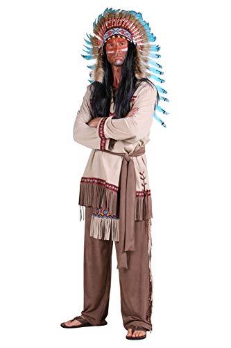 Indianer-Kostüm Herren Oberteil mit Fransen Hose mit Lendenschurz braun Adler Falke Apache Karneval Fasching Hochwertige Verkleidung Größe XL Beige