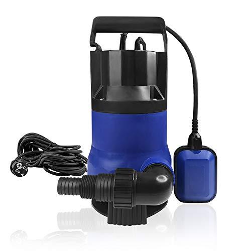Aufun Schmutzwasserpumpe Tauchpumpe 750 Watt Pumpen Förderleistung max. 13500 l/h, max. 8 m Förderhöhe, Fremdkörper bis Ø30 mm, Brunnenpumpe Gartenpumpe, Schwarz + Blau
