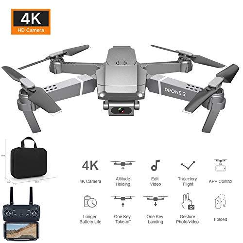 PUKEFNU Drohnen mit HD 4K-Kamera für Erwachsene Anfänger, faltbar WiFi Live Video Follow Me RC Quadcopter Höhe Hover VR 3D-Modus Bahn Flug Headless Mode Einknopf-Rückkehr