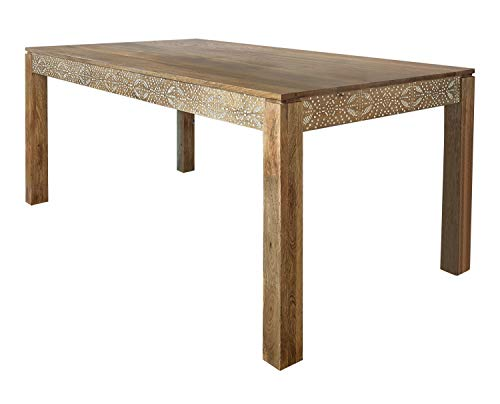 Coaster Home Furnishings Sorrel Rectangle Dining Table, Natural Mango and White Stencil