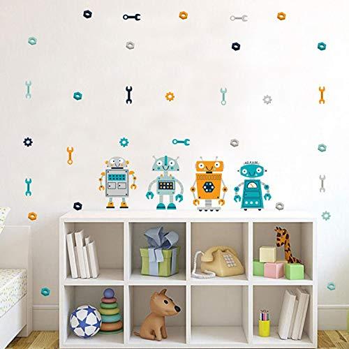 JXSTORE Etiqueta de la Pared,Robot De Dibujos Animados,para Dormitorio Sala de Estar Niña Niño la Cocina 15 * 60cm: Amazon.es: Hogar