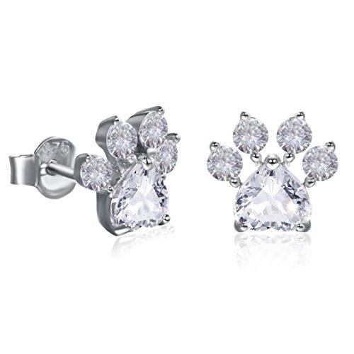 Katzenpfoten-Ohrringe Sterling-Silber 925 Niedliche Hund Pfoten Ohrringe Das beste Geschenk für Katzenliebhaber ideal für Weihnachten (Silber)