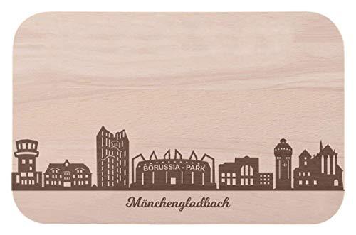 Frühstücksbrettchen Mönchengladbach mit Skyline Gravur - Brotzeitbrett & Geschenk für Mönchengladbach Stadtverliebte & Fans - ideal auch als Souvenir