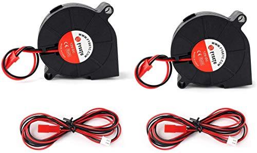 Toaiot 3D Printer Blower Fan Brushless Cooling Fan 5015 50 x 50 x 15 mm 12 V DC Extrusionador Hotend Cooler Radiator con 80 cm / 31,4 pulgadas cables de extensión para A8 / CR10 (2 unidades)