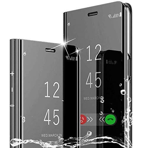 WINMI per Xiaomi Redmi Note 9S Cover,[Supporto] Protettivo 360°Smart Electroplate Mirror Case Clear View Flip Cover Custodia per Xiaomi Redmi Note 9S Smartphone-Nero