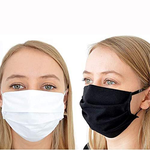 Unisex Masken, Mode Waschbare Wiederverwendbar Maske, Mundschutz Anti-Beschlag Anti-Staub Maske für Radfahren (5 pcs, schwarz)