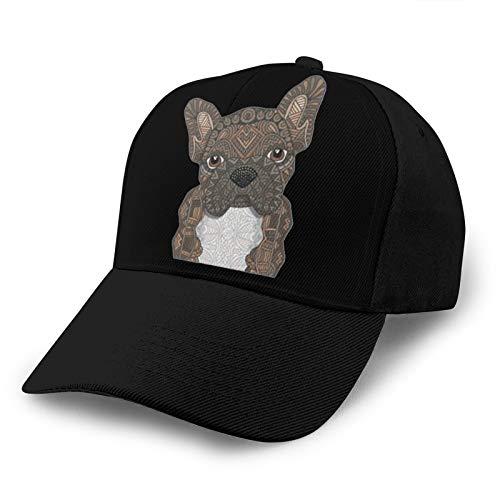 Nandaofeng Cute Brindle Frenchie Puppy Unisex Adult Adjustable Washed Golf Trucker Cap Sandwich Hat Baseball Caps