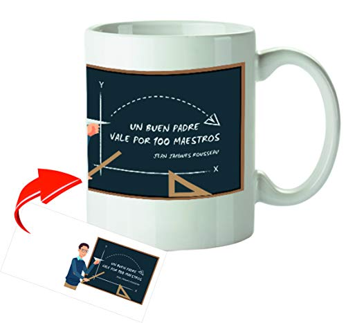 Kembilove Tazas de Desayuno Originales para Padres – Taza con Mensaje Un Buen Padre Vale por 100 Maestros – Taza de Desayuno para Regalar el día del Padre – Tazas de Café para Padres y Abuelos