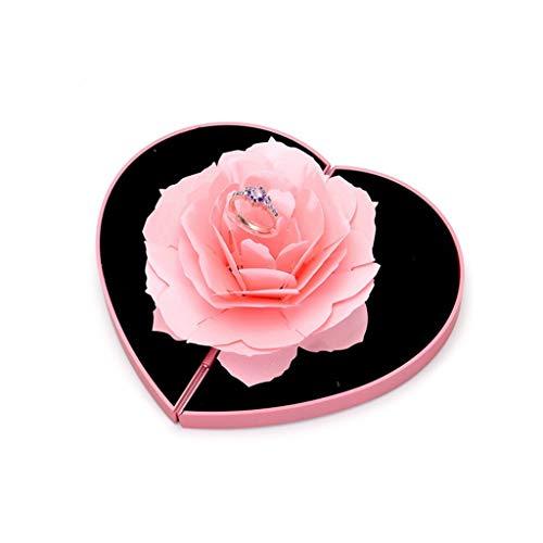 HSKB - Joyero con Forma de Rosa en Forma de Anillo, Caja de Regalo, Ca