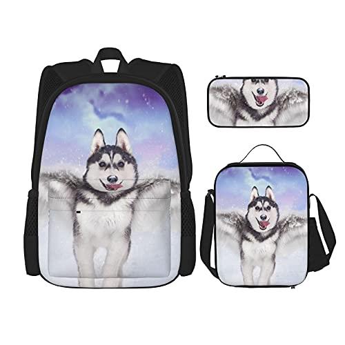 Lustiger Rucksack mit geflügeltem Husky-Motiv, 3-teiliges Set, modische Reise, Büchertasche, Lunch-Tasche, Federmäppchen